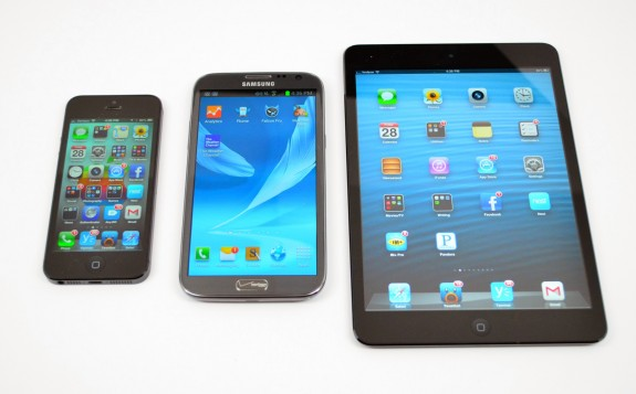The Galaxy Note 2 in the middle next to the iPhone 5 and the iPad mini.
