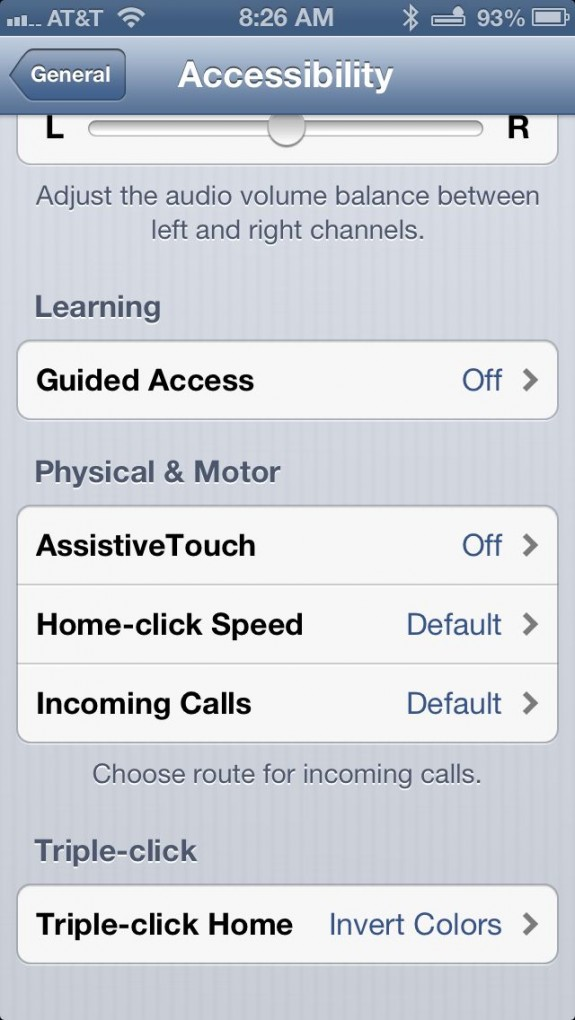 accessibility in settings app