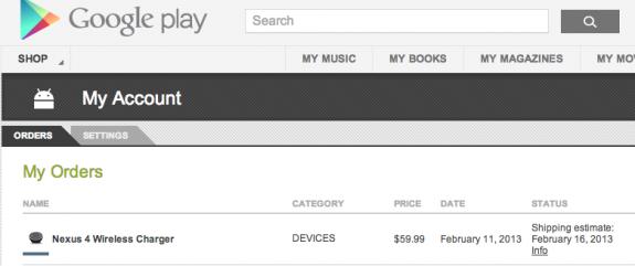 Nexus 4 wireless charging orb shipping
