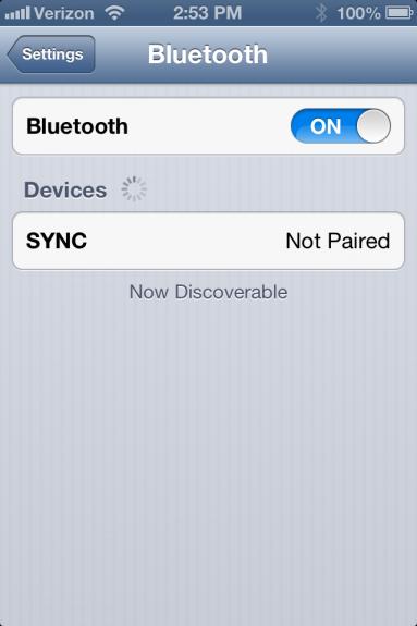 Sync on Bluetooth iOS Menu