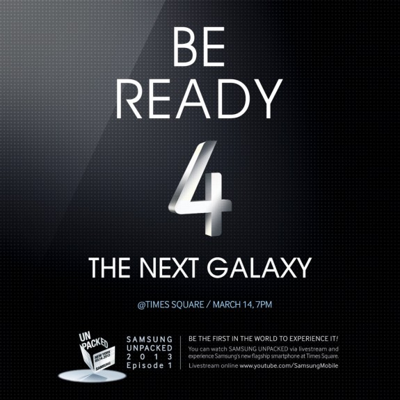 Samsung Galaxy S4 image teases a Samsung experience in Times Square, which could give shoppers a Galaxy S4 hands on.
