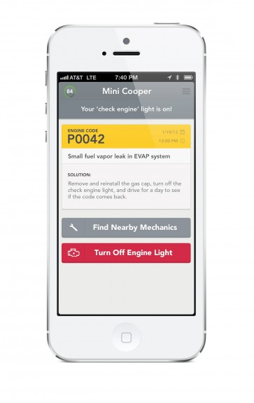 Use the iPhone to see why the check engine light is on with Automatic.