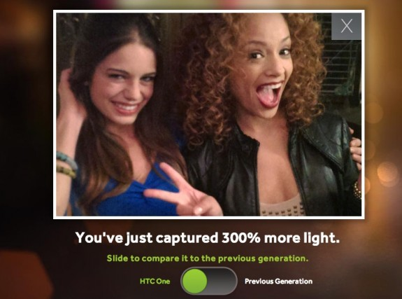 HTC claims the HTC One ultrapixel camera lets in 300% more light than the competition.