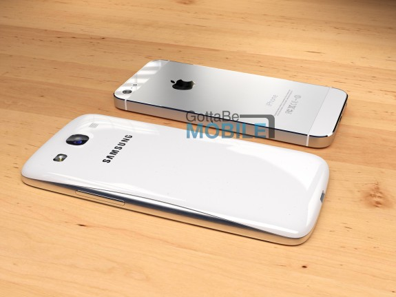 Our Samsung Galaxy S4 concept next to the iPhone 5.