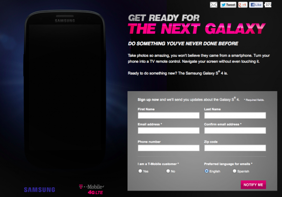 The Galaxy S4 will be coming to many of the same carriers.