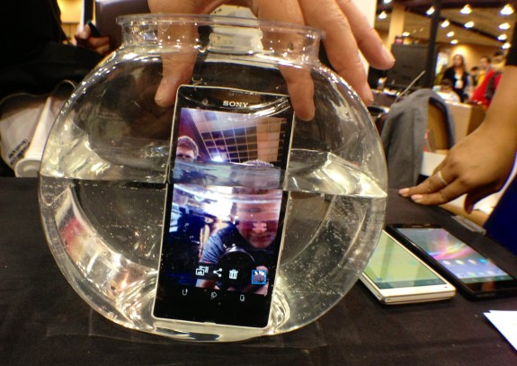The Xperia Z features a water-resistant design.