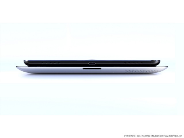 A rendering of the iPad 5 and iPad 4 showing a slight reduction in size.