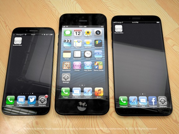 The iPhone 6 with a 4.8-inch screen is slightly larger than the iPhone 5.