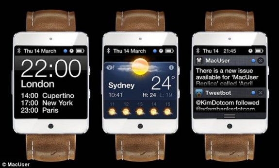 An example of how iOS might work on an iWatch concept with Notification Center support.
