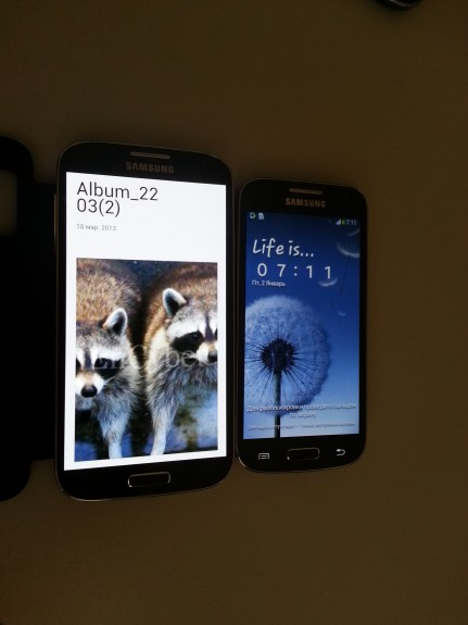 The Galaxy S4 Mini supposedly next to the Galaxy S4.