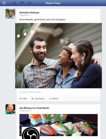 Facebook for iPad new News Feed