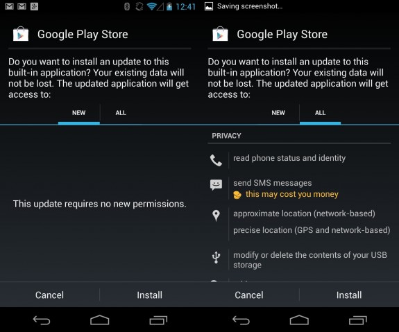 Install the Google Play Store 4.0 APK file and accept the access it needs to the Android system.