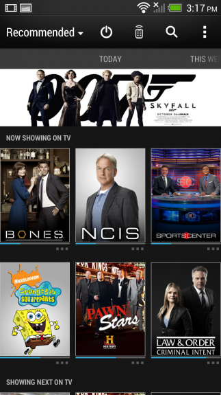 HTC Sense TV is a companion app that turns the HTC One into a remote control.
