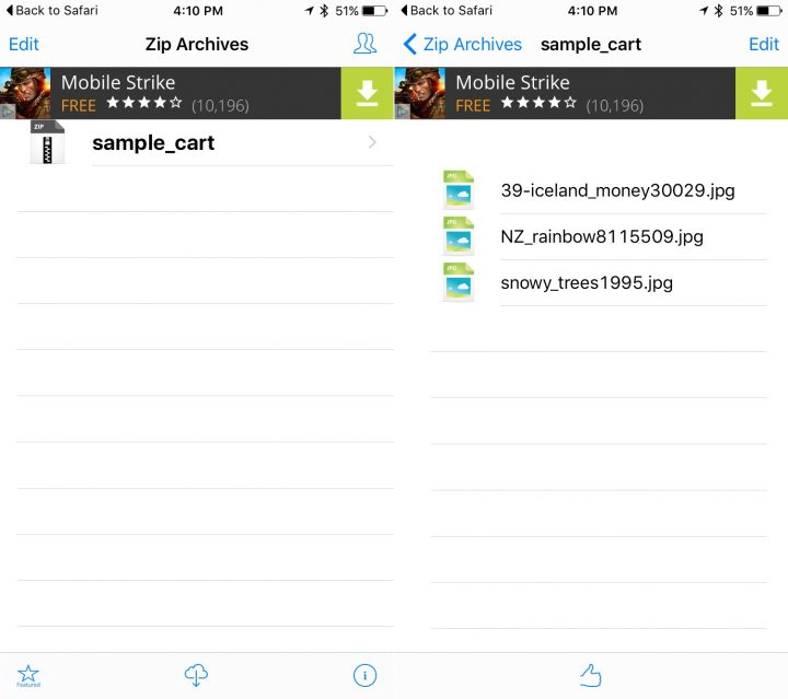Unzip files on the iPhone.