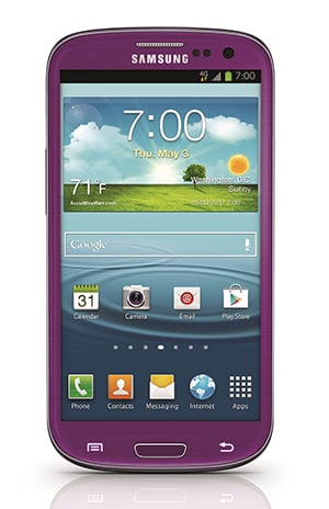 The Sprint Samsung Galaxy S3 comes in purple, but no word on the Samsung Galaxy S4.