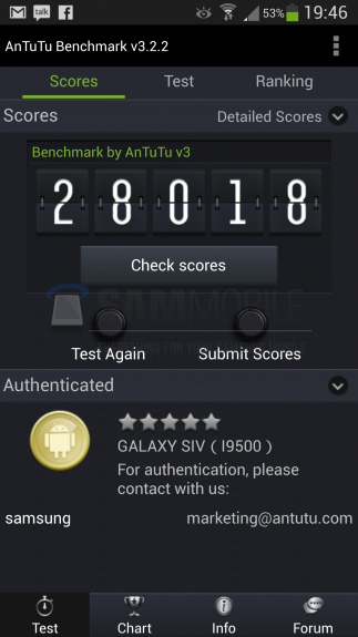 Samsung Galaxy S4 Exynos benchmark.