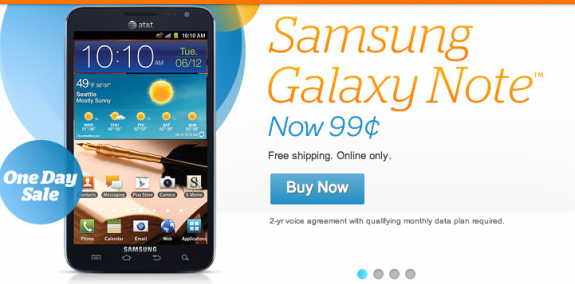 The Samsung Galaxy Note is a mere $.99 through AT&T, for today only.