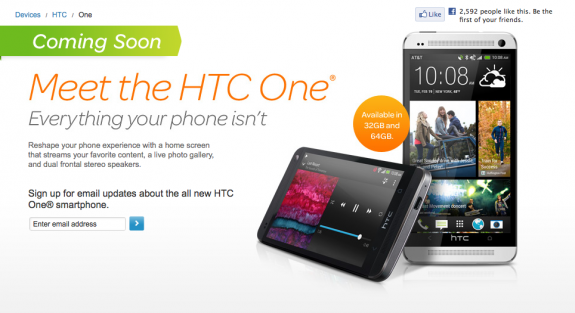 The AT&T HTC One will arrive on April 19th.