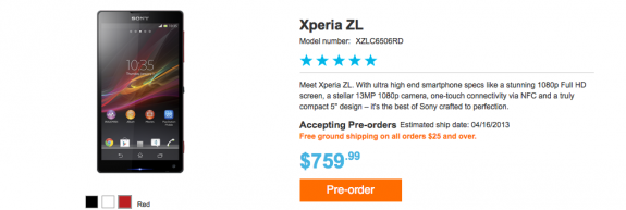 The Sony Xperia ZL shipping time in the U.S. has slipped.