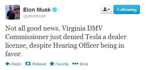 Tesla Loses Virginia