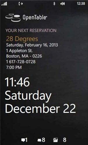 Lockscreen integration in OpenTable for Windows Phone 2.0