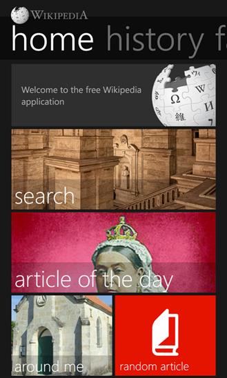 A screenshot of Windows Phone App Star winner, Wikipedia for Windows Phone.