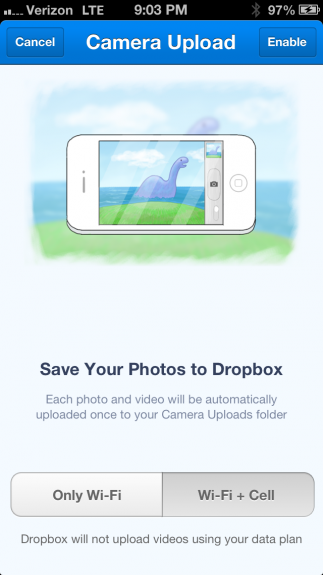 Dropbox iOS camera upload