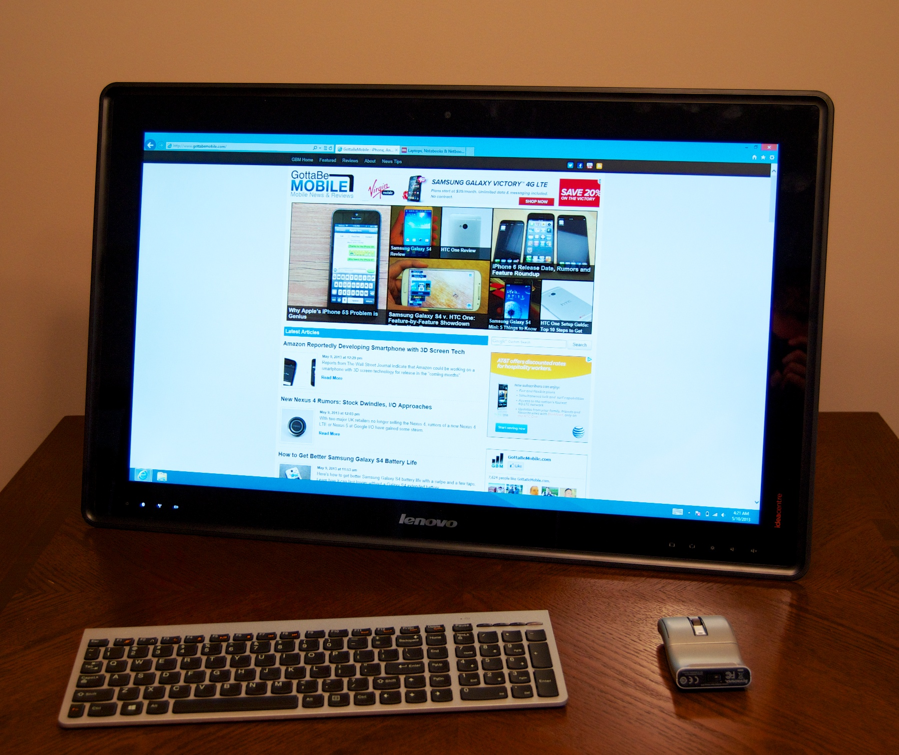 The Lenovo Horizon as a desktop all-in-one.