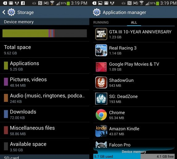 Samsung Galaxy S4 data used after one week thanks to a few games and one HD movie.