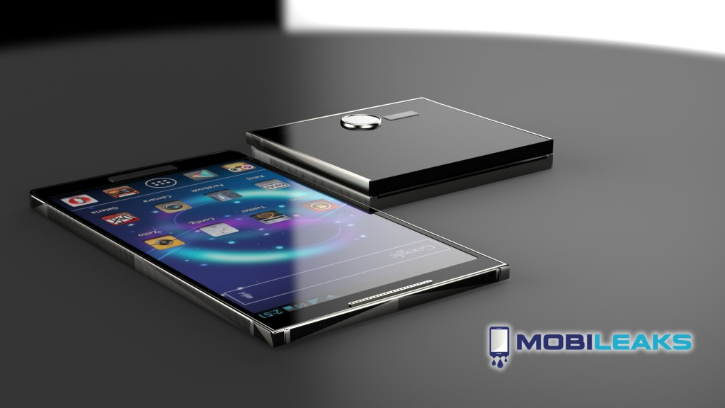 A Samsung Galaxy S5 concept shows off a flexible, foldable display.
