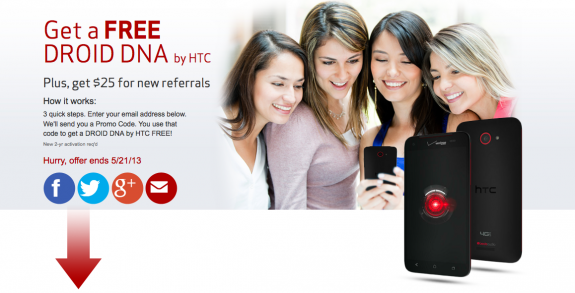 The Droid DNA is free until May 21st for those that take advantage of a Verizon offer.