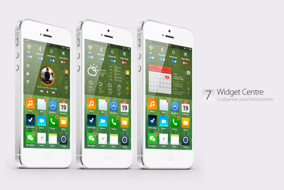 This iOS 7 concept features widgets, a long requested features.