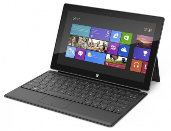 The original Surface Pro with a Type Cover.