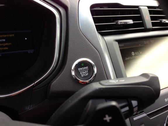 Push button start and paddle shifters on the 2013 Ford Fusion.