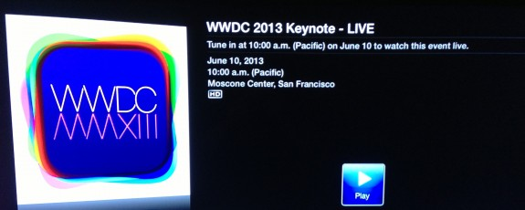 Watch the iOS 7 Announcement live on the Apple TV.