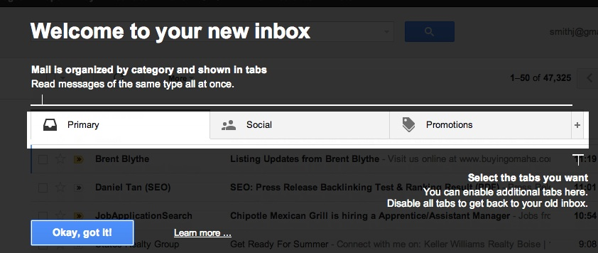 Check out the new Gmail Inbox features and get started.
