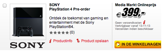 PS4 release date listed online for November 13, 2013.
