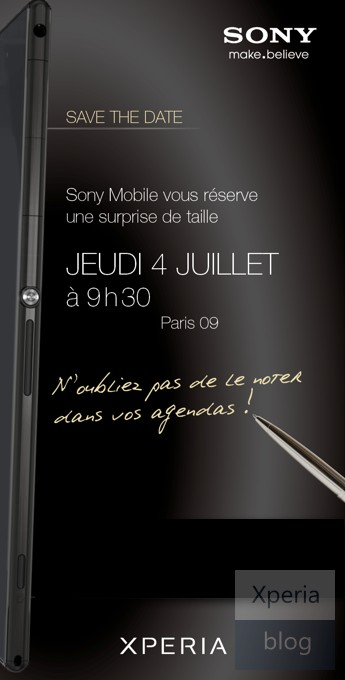 The invitation to Sony Mobile's event, sent to Xperia Blog.