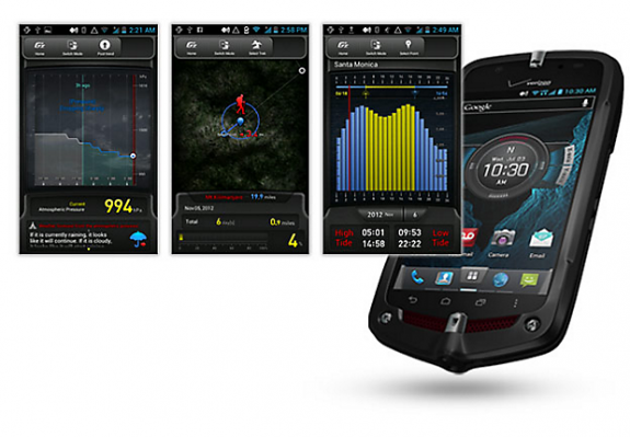 The Casio g'Zone Commando 4G LTE includes special apps to make use of various sensors built-in to the phone.
