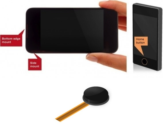 Mockup shows how and where a fingerprint reader could be part of an iPhone 5S.