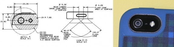 Apple iPhone 5 blueprints outline safe keep out areas for the flash.