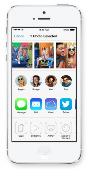 Share faster with a new sharing menu in iOS 7.