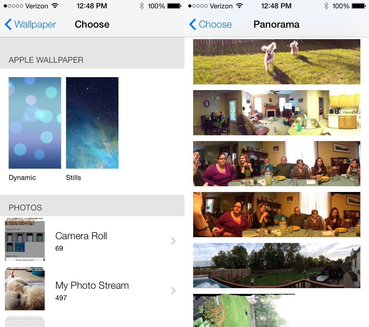 Use a panoramic image as a wallpaper in iOS 7.