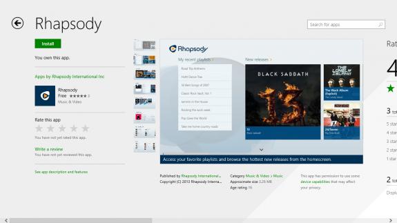 rhapsody for windows 8