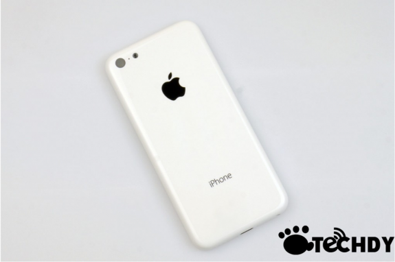 The back of an alleged budget iPhone assembled with no internal parts.