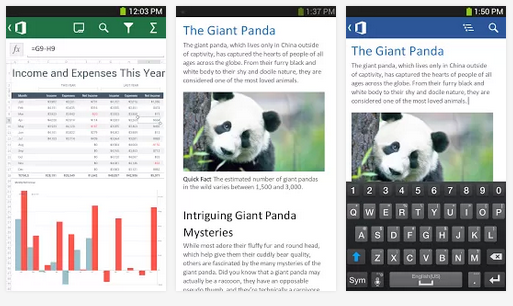 Microsoft Office 365 for Android allows users to edit Word and Excel documents and sync them between devices.