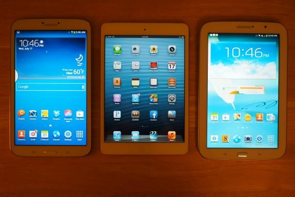 From left to right: Galaxy Tab 3 8.0, iPad mini, Galaxy Note 8.0