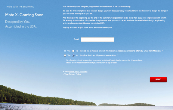 """A Moto X sign up page is now live, claiming the device will be """"coming soon."""""""