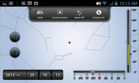 Built-in star gazing app.
