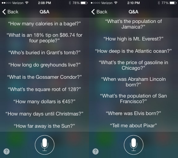 Ask Siri questions, like how much is gas, in the iOS 7 beta.